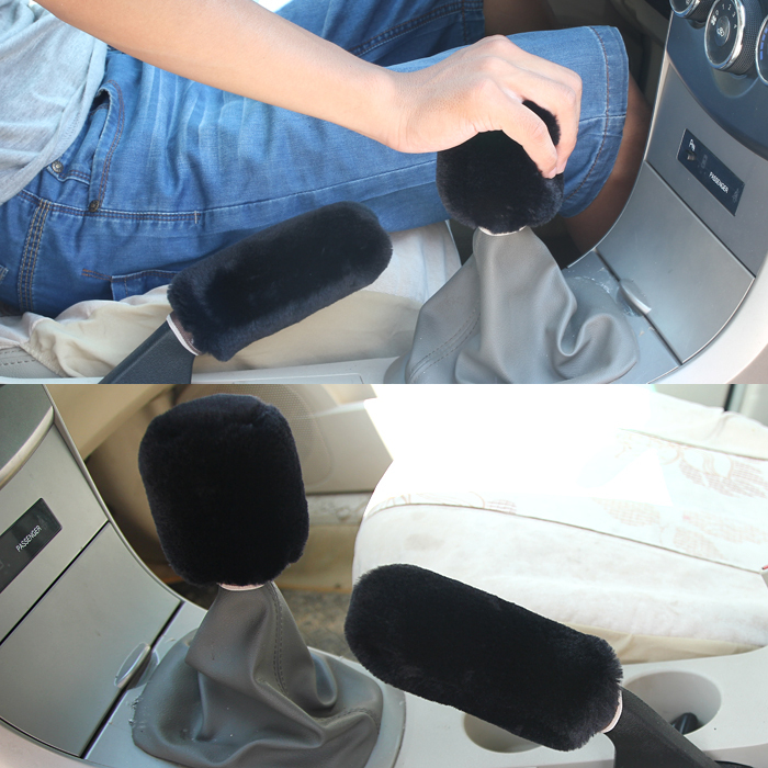 Black Car Interior Soft Plush 2 in 1 set Hand Brake Sleeve & Gear Shift Cover Set Winter Warm(China (Mainland))