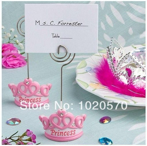Baby Favors Pink Crown Themed Princess Place Card Holder or Name Card Holder For Baby Shower Wholesale 20pcs/lot FREE SHIPPING