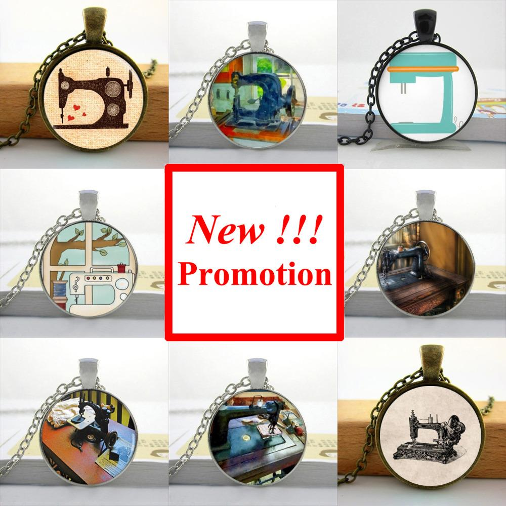 2015 New Fashion Sewing Machine Necklace Seamstress Art Jewelry Glass Cabochon Necklace Pendant(China (Mainland))