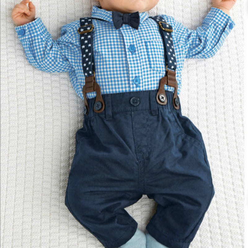Outfits Baby Boy Autumn font b Plaid b font Shirt Suspender Pants Formal Wedding Outfits