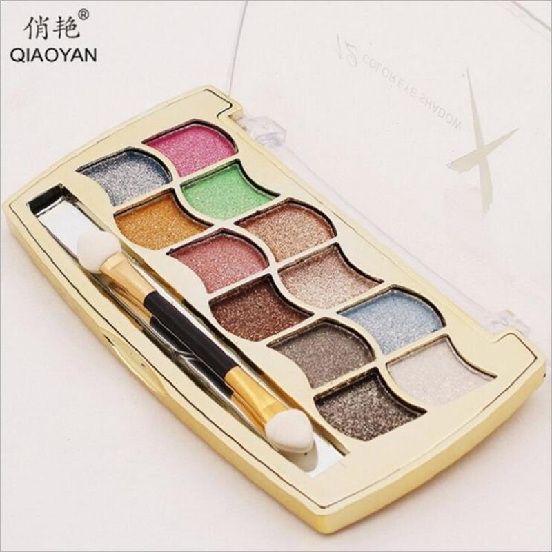 New Refinement 12 colors Nude makeup eye shadow Eye Beauty profession waterproof lasting Three-dimensional Glitter eye shadow(China (Mainland))