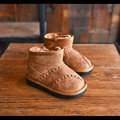 2016 Fashion Winter Girls Boots Genuine Leather Warm Baby Shoes Boys Snow Boots Children Walking Shoes