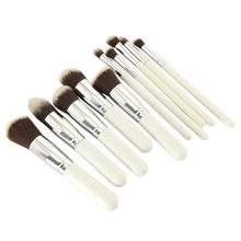 10 Pcs Pro Makeup Set Silver Black White Powder Foundation Eyeshadow Eyeliner Lip Cosmetic Brushes Blending Blush Makeup Tool