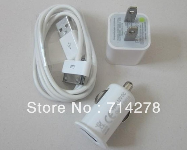 Free shipping Wholesale The Charger Plug + Car Charger + Data Line Three-piece Suit