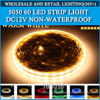 LED strip 5050 12V flexible light 60 leds/m,5m/lot 300LED Warm White,White,Blue,Green,Red,Yellow,RGB