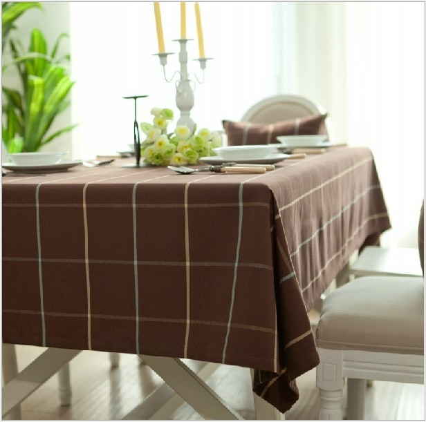 Tablecloth waterproof brown plaid canvas mantele para mesa nappe tablo Europe country living rough table cloth large small round(China (Mainland))