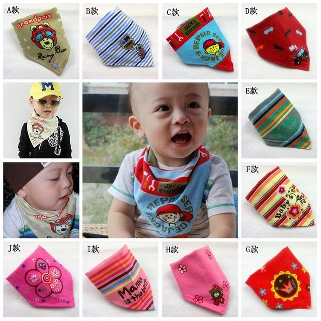100% cotton environment  print baby Bibs triangular scarf boy and girl 10 designs with magic paste  high quality 10pcs/lot