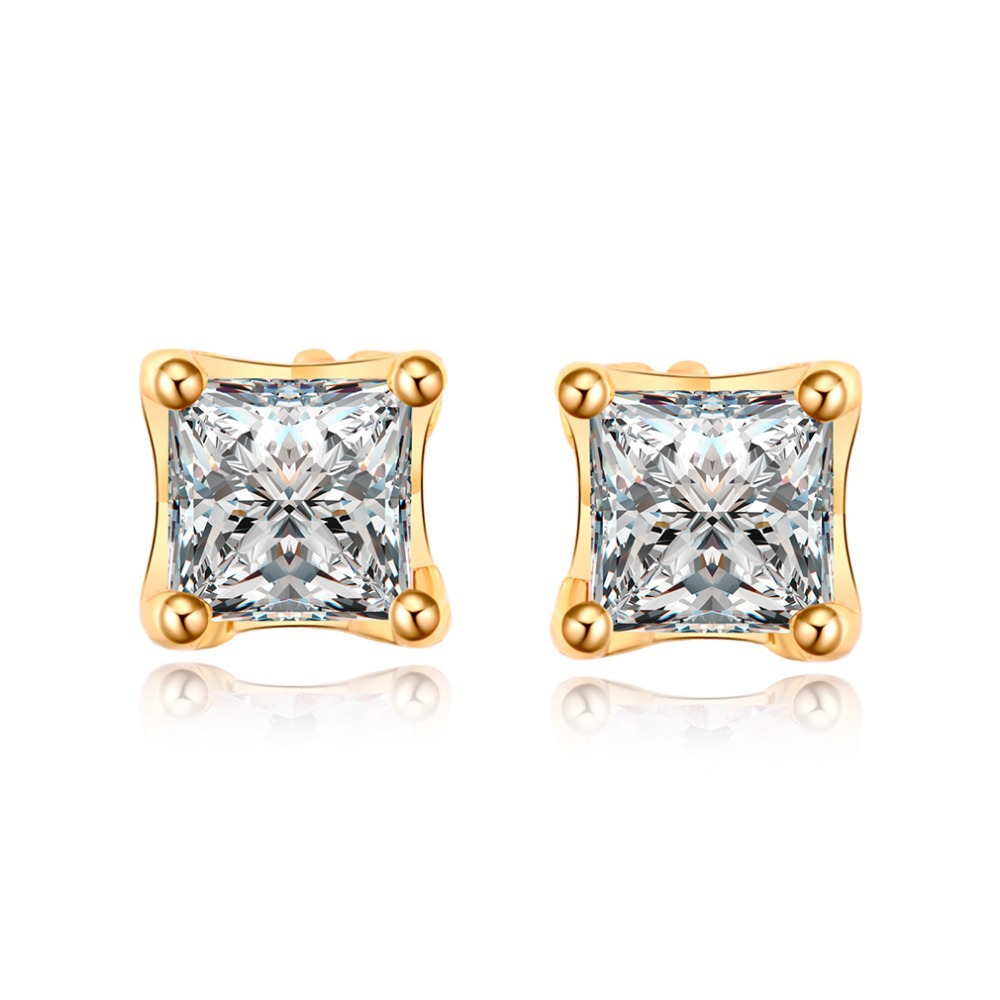 2015 New Brand Design 18k Gold Plated Square Fashion Unisex Fine Stud Earrings Women - qianbian (min order $8 store)