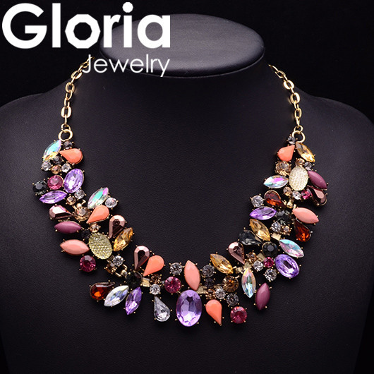 2015 fashion water drop colors rhinestone necklace trendy statement collar necklace women jewelry 9005