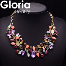 fashion water drop colors rhinestone necklace trendy statement collar necklace