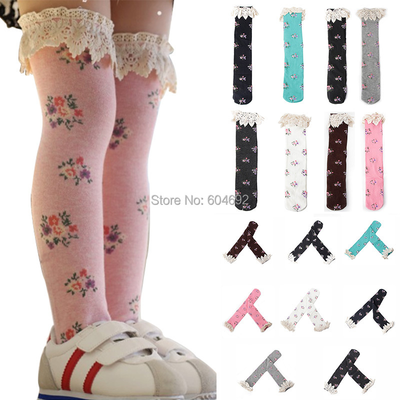 Free&Drop ShippingBaby Girls Little Lace Flower High Socks Knee High In Tube Sock
