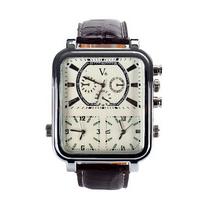 Envío gratis cuadrada de tres hombres del reloj de movimiento de relojes relojes de la correa de mesa para hombre con un reloj resistente al agua Shiying junio