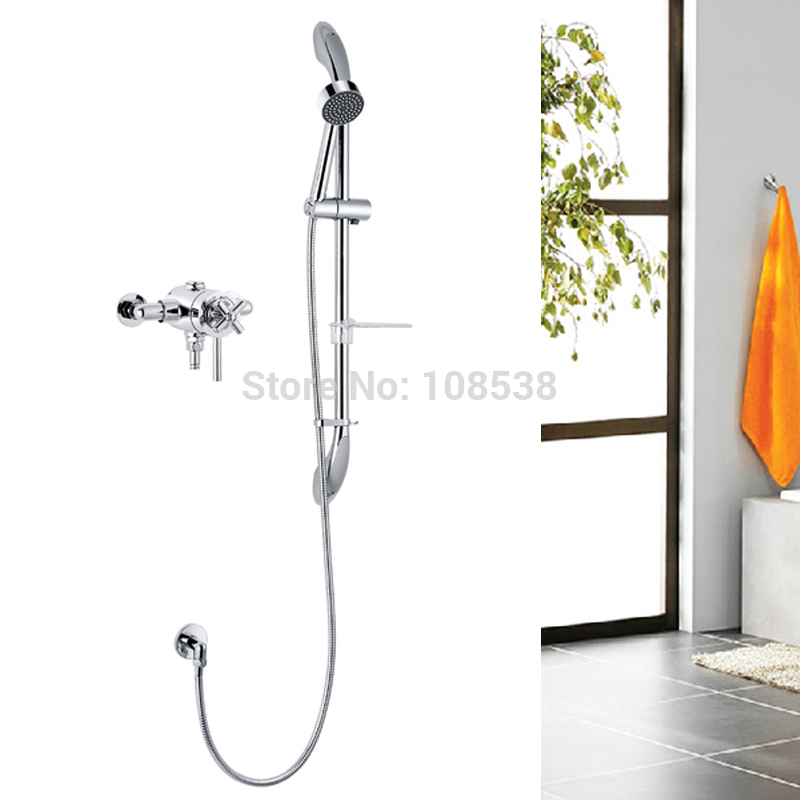 2015 New Thermostatic exposed shower valve set,with shower head,shower arm,riser rail,tmv approval(China (Mainland))