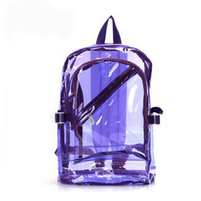 Womens Girl Boy Fashion Transparent Clear Backpack/Plastic Student Bag Korean Bag/School Book Leisure Shoulder Bags Purse(China (Mainland))