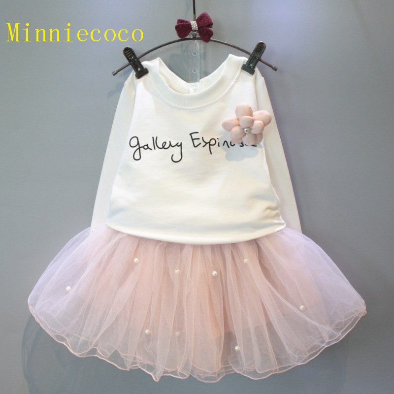 Гаджет  2015 Fashion designed kids girls long sleeves sets,2pcs white t-shirt+pink lace skirt suits,baby girls princess wear,2-8Y None Детские товары