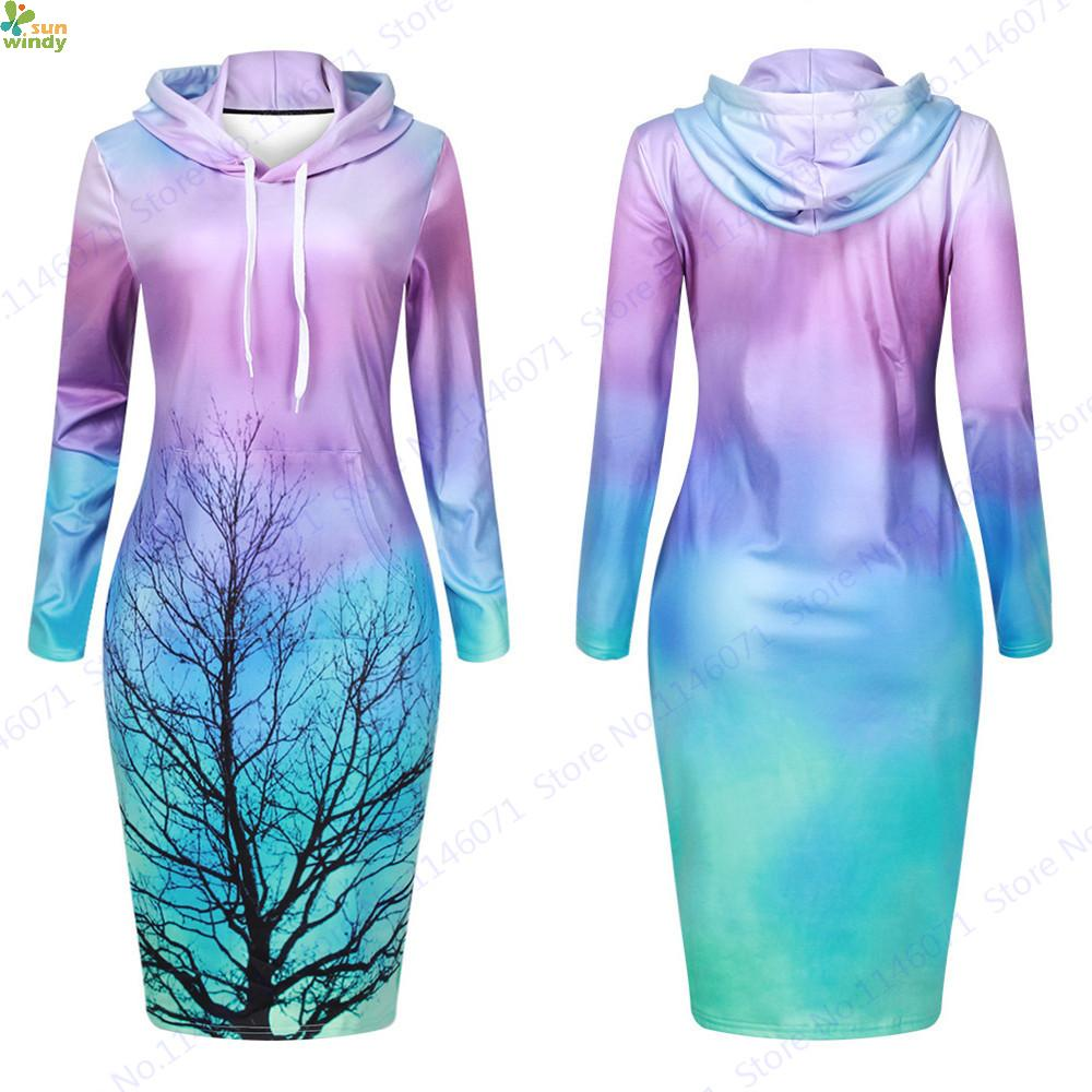 Teal Purple Aurora Hoodie Dresses Midi Loose Soft Long Black Tree Women Hooded Sweatshirt Dress Knee-Length Tennis Dresses(China (Mainland))