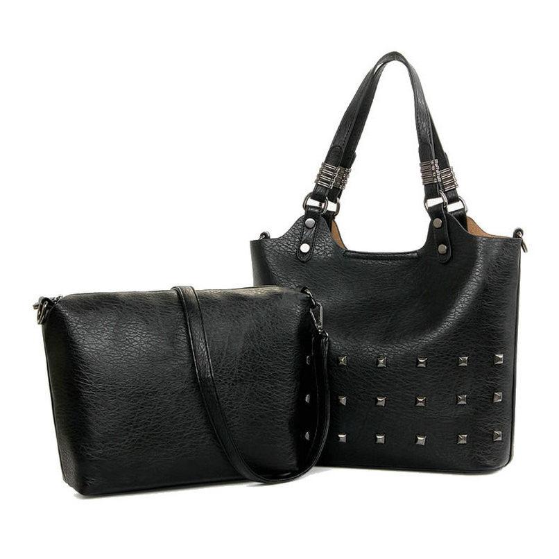 New Rivet Women Leather Handbags Vintage Woman Bags Fashion Handbags Women Shoulder Bags Genuine Leather Bag Tote sg43