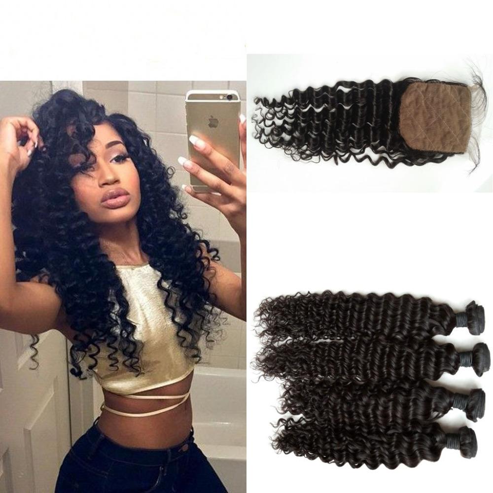 Peruvian Virgin Hair with Silk Base Closure Peruvian Virgin Hair Bundles With Closures Deep Wave 8-30 Free Shipping<br><br>Aliexpress