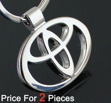 2pcs/lot automobile accessaries key rings chains keyring keychain for toyota car logo badge brands emblem marks(China (Mainland))