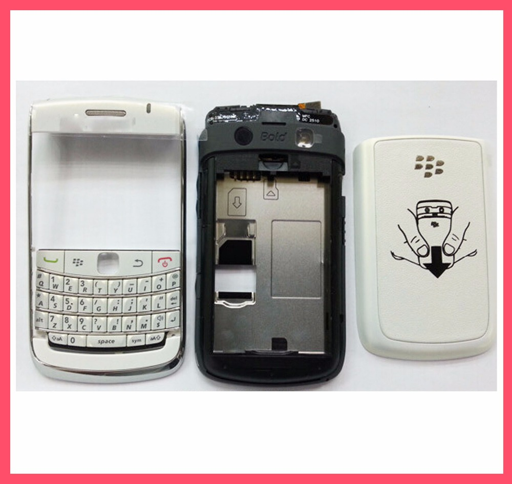 Original For BlackBerry Bold 9700 9780 Housing Cover Complete +Keypad +Side Button + Logo, White /Black(China (Mainland))