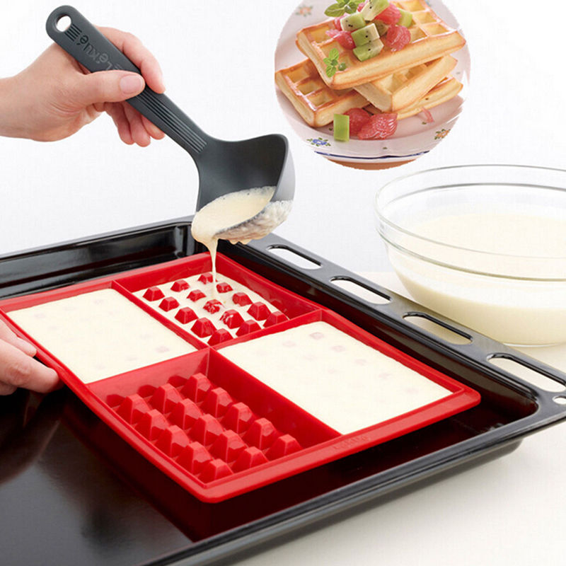 1 X Safety 4-Cavity Waffles Cake Chocolate Pan Silicone Mold Baking Mould Cooking Tools(China (Mainland))