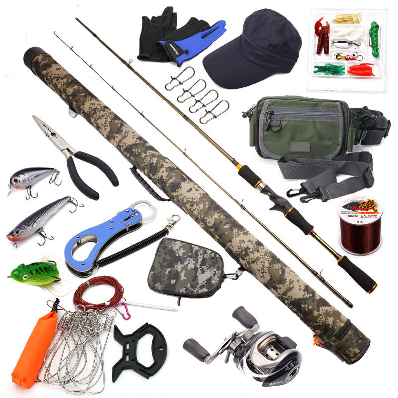 2 1m lure fishing kit casting fishing rods and reel combo for How to get free fishing gear