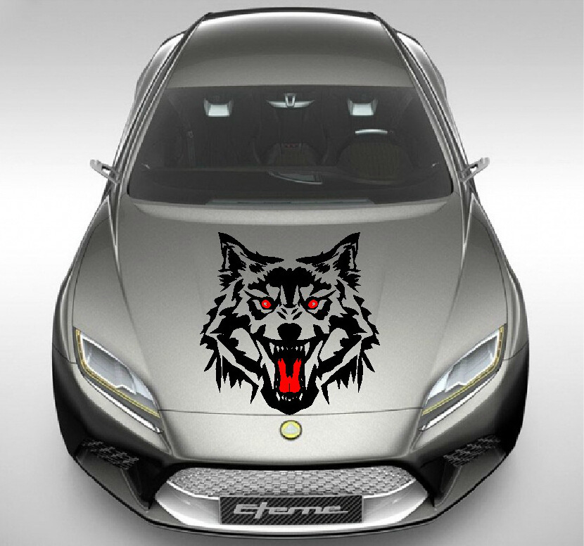 car styling 50cmx50cm wolf car stickers car machine bonnet wolf sticker car head cover sticker. Black Bedroom Furniture Sets. Home Design Ideas