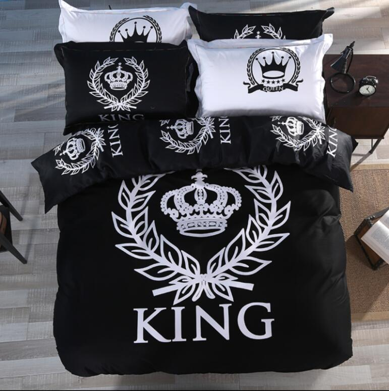 royal style bedding set black white bedlinens for twin queen king size bed set 100 cotton duvet. Black Bedroom Furniture Sets. Home Design Ideas