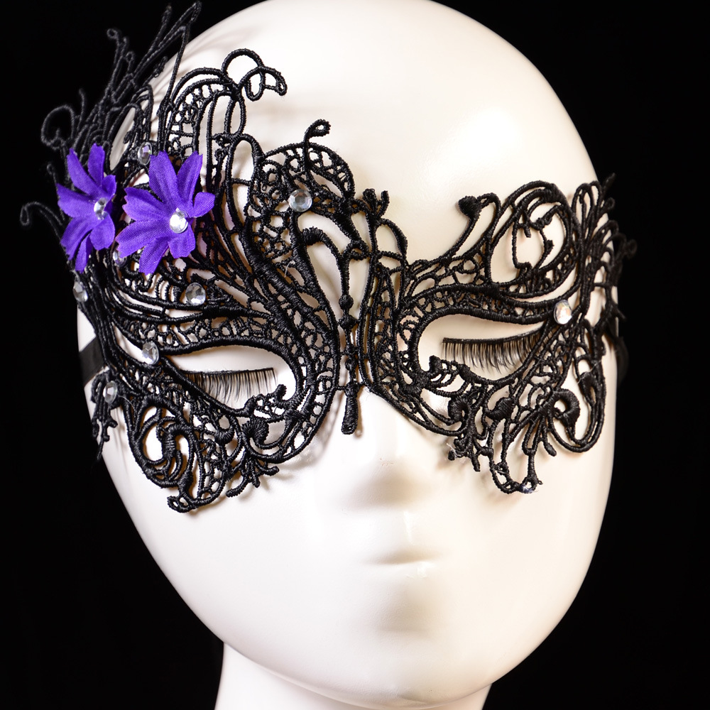 Vanzllife sexy lace mask hot hollow with drill Christmas ball eye jewelry party fashion flowers with diamond female mask(China (Mainland))