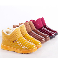 2016 New candy color women Winter Boots waterproof snow boots fashion Fur warm ankle Boots antiskid flat boots plus size ALF246(China (Mainland))