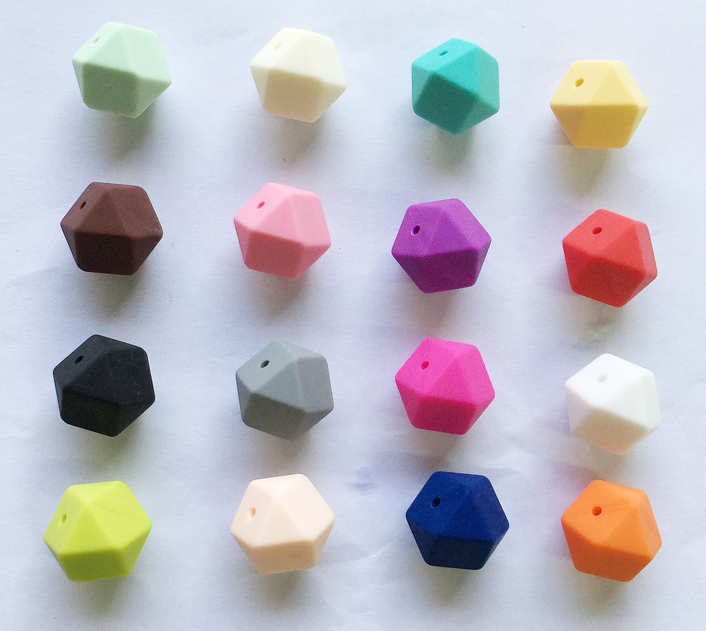 23.2MM Biggest Geometric Hexagon Silicone Beads - DIY Lot of 50pcs Hexagon Loose Individual Silicone Beads without joint line(China (Mainland))