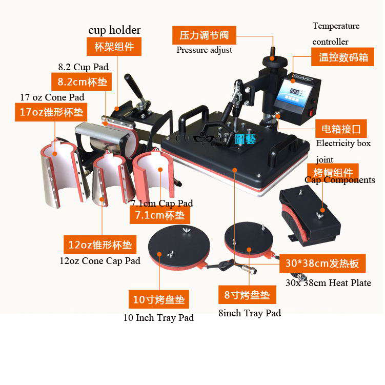plate size: 30x 38cm 8 in 1 combo heat press machine for t shirts/mugs/caps/trays