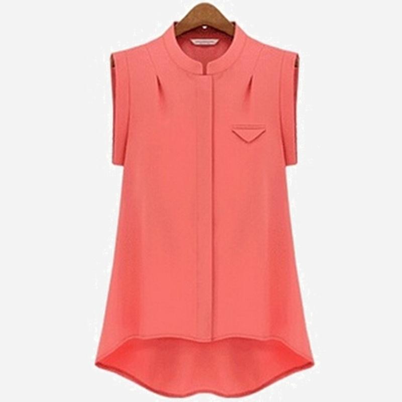2015 summer women 39 s loose irregular sleeveless chiffon for Stand collar shirt womens