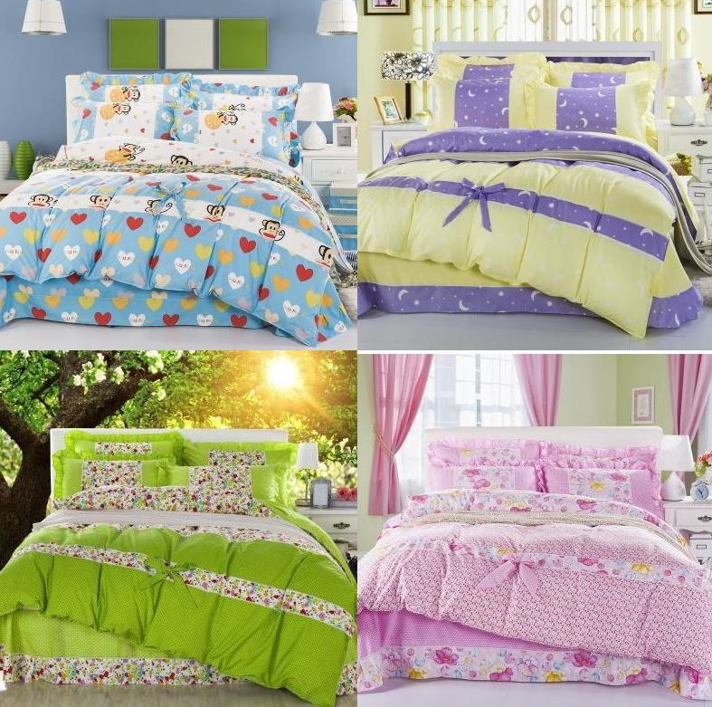 Summer thin cotton skin-friendly piece bedding set rustic 100% cotton princess bed sheet 100% cotton duvet cover(China (Mainland))
