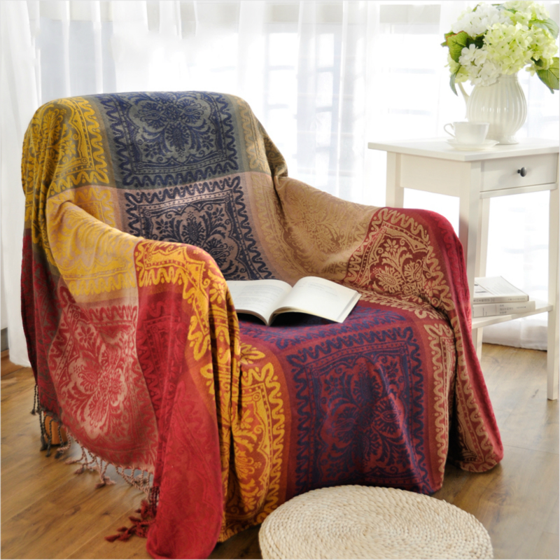 Bohemian chenille blanket sofa decorative slipcover throws on sofa bed plane travel plaids Throw blankets for sofa
