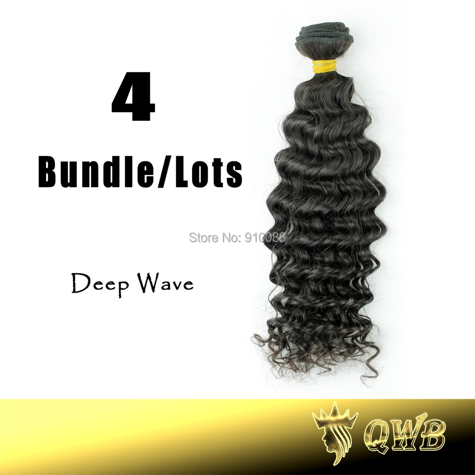 Free Shipping 12''~28'' Deep Wave 4Bundle/Lot QWB Non Chemical Processed Cuticle Aligned Virgin Brazilian Hair(China (Mainland))