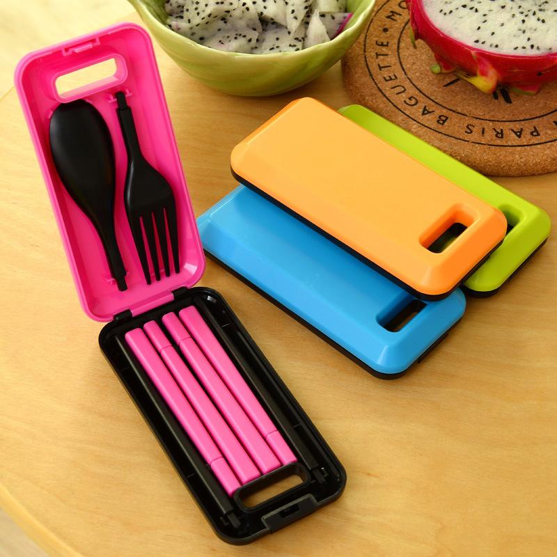 Гаджет  Outdoor Travel Picnic Protable Tableware Chopsticks Spoon Fork Storage Box Picnic Tableware free shipping None Спорт и развлечения