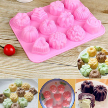 Buy Silicone Cake Mold Pudding Jelly Tools Hand-made Soap 12 Kinds Flowers Mold Party Wedding Decorating Cupcake Mould for $2.93 in AliExpress store