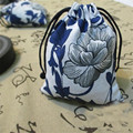 10 11cm Ceramic blue and white Gift Cotton and linen Bags Jewellery Pouch Drawstring Bag Jewelry