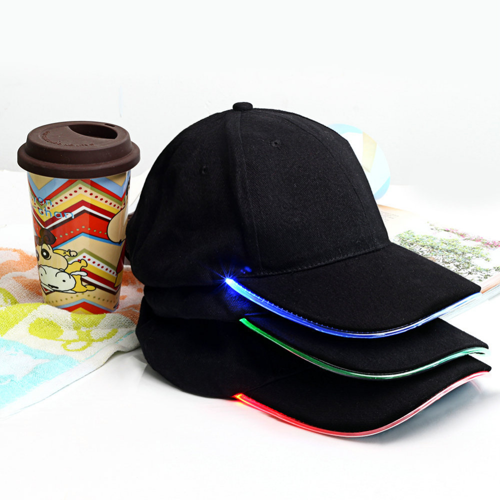 3 Colors For Choose Fashion LED Lighted Glow Club Party Sports Athletic Black Fabric Travel Hat Cap(China (Mainland))