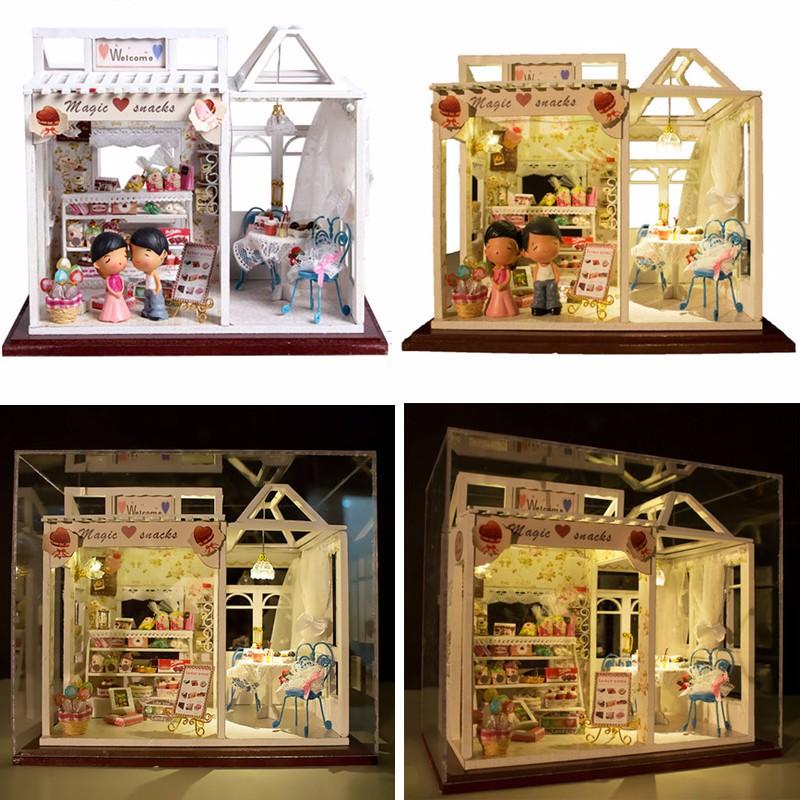 Hoomeda Dollhouse PH002 Magic Snacks Miniature DIY Handmade Kit With Dolls Lights Best Gift Toys For Children Adult Girls(China (Mainland))