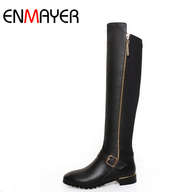 Фотография ENMAYER New Women Knee-high Boots Shoes Woman Classic Black Shoes PU+Genuine Leather Round Toe Low Heels Winter Warm Boots Shoes
