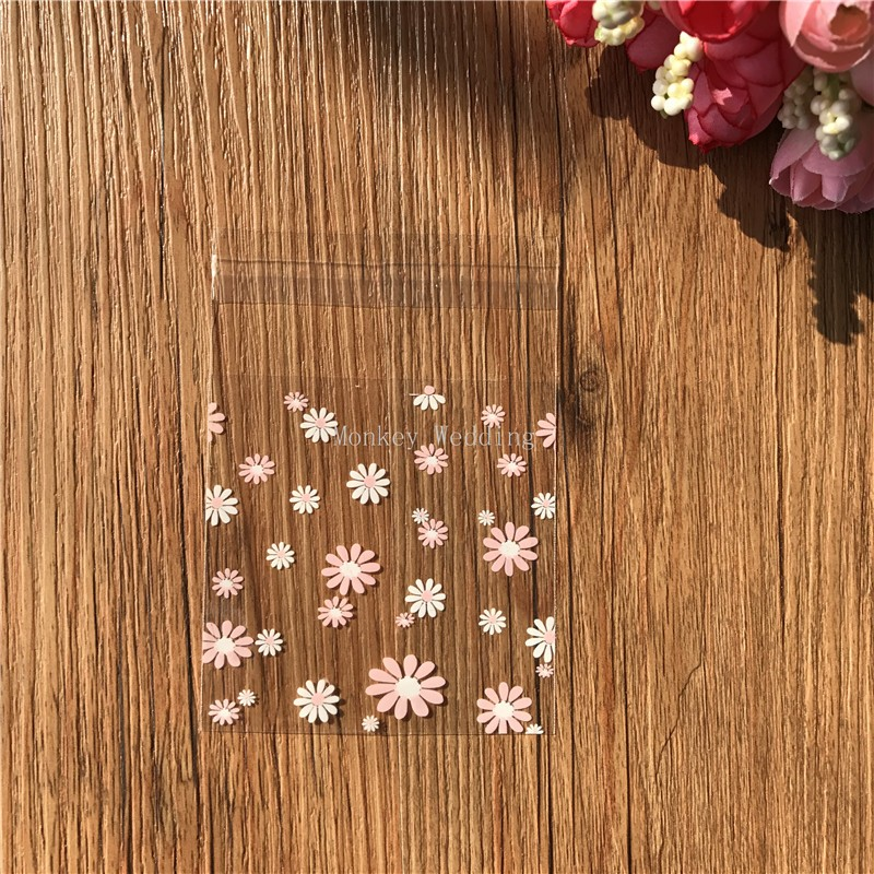 100pcs/lot white ans pink flower plastic biscuit packaging bags ...