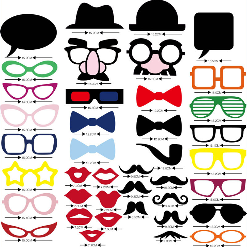 Free Shipping 1Set of 40pcs Photo Booth Props Glasses Mustache Lip On A Stick Wedding Birthday Party Fun Favor Gift(China (Mainland))