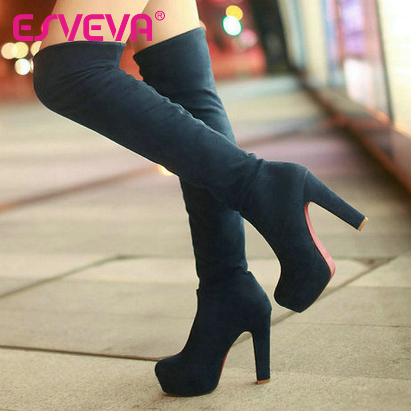 ESVEVA New Hot Pumps Fashion Winter Leopard High Heels Big Size Boots for Women Ladies Shoes Woman Winter Snow Boots Size 34-43(China (Mainland))