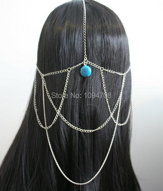 HC-108 Gypsy Head Chain Boho Head Piece Jewelry Hair Chain Piece Triple Strand Head Bohemian Hair Chain(China (Mainland))