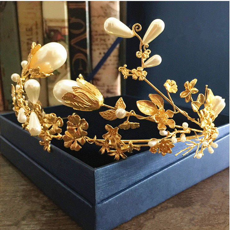 2016 Baroque luxury golden leaves flower pearl headband women elegant tiaras crown wedding bridal hair accessories femme jewelry(China (Mainland))