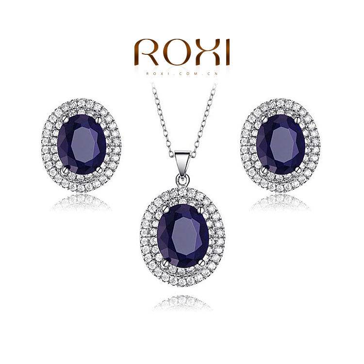 ROXI Gift Fashion Opals Set 100% Hand Made Fashion Jewelry Earrings+Necklace Sets Blue Stones Office Lady Accessories(China (Mainland))