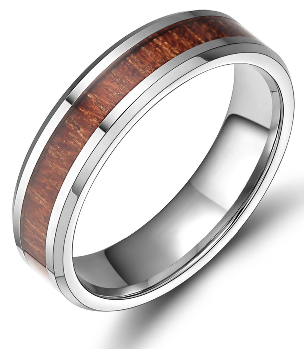 6MM Red Wood Inlay Silver Tungsten Carbide Ring Wedding Band Wooden Rings Men Women Fashion Jewelry Comfort Fit(China (Mainland))
