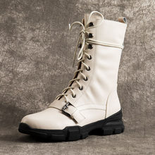 WETKISS Motocicleta Ankle Boots Plana Com Lace Up Calçados Femininos De Couro de Vaca Botas Militares Mulheres Dedo Do Pé Redondo Sapatos de Plataforma de Inverno(China)